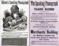 """This trade card was used to promote phonograph exhibitions in Chicago in 1878. (Such """"trade cards"""" were a very popular form of advertising in that era.)"""