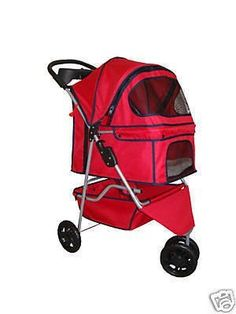 New Classic Fashion Red 3 Wheels Pet Dog Cat Stroller w/RainCover - http://catstroller.bgmao.com/new-classic-fashion-red-3-wheels-pet-dog-cat-stroller-wraincover/