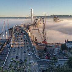 independentcbh's photo on Instagram - Karl the Fog this morning on Eastern spans of old and new Bay Bridge.