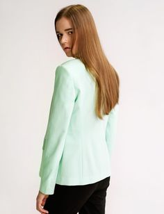 $29.99  Mint Green Contrasting Collar Blazer#group buying#whatabeautifullife.com