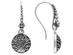 Artisan Gem Collection Of Bali Round Filigree Sterling Silver Dangle Earrings