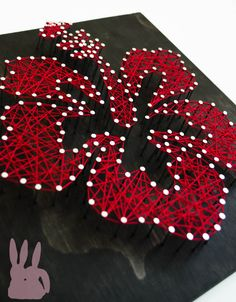 www.BinkyBunbun.com Red 12x12 Hibiscus Flower string art