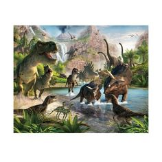 Brewster WT41745 Dinosaur Land Wall Mural N/A Home Decor Murals ($140) ❤ liked on Polyvore featuring home, home decor, wall art, murals, wallpaper, wall murals, mountain wall mural, dinosaur wall mural, brewster home fashions and mountain home decor
