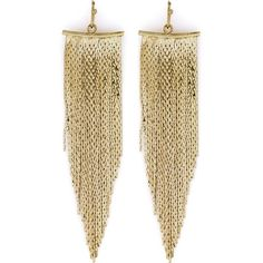Kenneth Jay Lane Fringe Fishhook Earrings ($43) ❤ liked on Polyvore featuring jewelry, earrings, gold, tassel earrings, retro earrings, fish hook earrings, nickel free earrings and tassle earrings