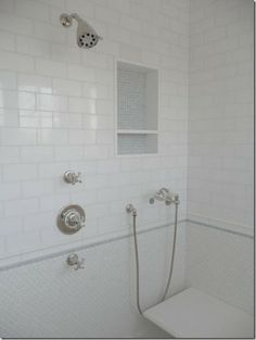 Shower Niche With Marble Base Beveled Edge Subway Tiles Capitol - 6x8 bathroom tiles
