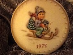 1975 Annual HUMMEL PLATE Boy on sled by WorthAnotherLook on Etsy, $50.00