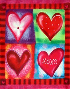 Vibrant Hearts Valentines Day Garden Flag $5.99 (save $4.00)
