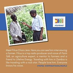 "Continuing our sharing of people we've met over the past 20 years who are making a difference, we celebrate our good friend, Filius Charo Jere. Filius, one of Africa's top agricultural radio producers has a simple motto, ""If I'm not helping someone every day, then I'm not doing my job."" #20Years #20MillionListenersReached · · · · #NonProfit #Education #EducationForAll #Education4All #Learning #Radio #ILoveRadio #Technology #SolarPower #SolarEnergy #CleanEnergy #CleanTechnology…"