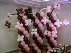 Colunas de Balões com flores 3D. Balloon Column with 3D Flower Balloons #BalloonDecorators