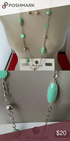 JUST ARRIVED!! TURQ IMR TURQUOISE LARGE NECKLACE Silver tone necklace and earrings set.  Turquoise stones Style & Co Jewelry Necklaces
