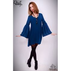 Rochie albastra lejera Bell Sleeves, Bell Sleeve Top, Blouse, Long Sleeve, Tops, Dresses, Women, Fashion, Vestidos