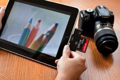 Finally! An iPad CF & SD card reader - one step to download photos directly to an iPad.