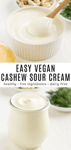 This vegan cashew sour cream is an easy healthy dairy-free spread! Use it on top. This vegan cashew sour cream is an easy healthy dairy-free spread! Use it on top of vegan chili sou Vegan Cheese Recipes, Vegan Sauces, Vegan Dishes, Dairy Free Recipes, Cashew Cheese, Keto Recipes, Gluten Free, Vegetarian Appetizers, Vegetarian Recipes