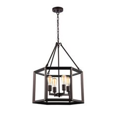 This 4-light pendant features an oil rubbed bronze finish that will complement many industrial, urban, loft, and transitional decors. The hexagon shaped steel frame surrounding the light cluster adds