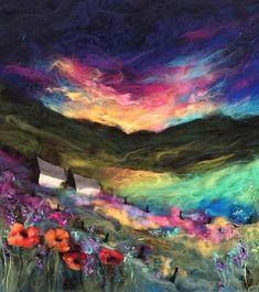 By Moy Mackay Landscape Quilts, Landscape Art, Wet Felting, Needle Felting, Felt Pictures, Felt Embroidery, Wool Art, Hippie Art, Weaving Art