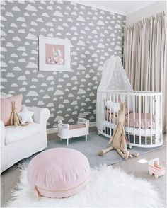 Nursery Design Tips . Nursery Design Tips . Scandinavian Design Baby Room Interior Baby Bed or Children Baby Bedroom, Baby Room Decor, Nursery Room, Girls Bedroom, Clouds Nursery, Teen Bedrooms, Master Bedroom, Gold Nursery, Girl Decor