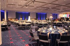 Carey Roberts Design, Winter Corporate Event, blue, event, floral, flowers, table setting