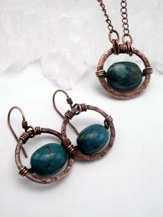 Earring and Pendant Set Round Hammered Copper by PerfectlyTwisted, $46.00
