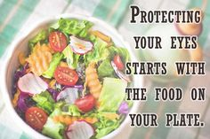 Protecting your eyes starts with the food on your plate. Nutrients such as omega-3 fatty acids, lutein, zinc, and vitamins C and E might help ward off age-related vision problems such as macular degeneration and cataracts, studies show. Regularly eating these foods can help lead to good eye health:  Green, leafy vegetables such as spinach, kale, and collards Salmon, tuna, and other oily fish Eggs, nuts, beans, and other non-meat protein sources Oranges and other citrus fruits or juices