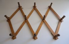 Vintage Accordion Expandable Wooden Peg Rack by FloydJonesVintage