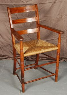 Ladder Back Chair with Rush Seat Ladder Back Chairs, Vintage Furniture, Framed Artwork, Auction, Canada, Antiques, Home Decor, Antiquities, Antique