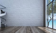 The interior design of white brick wall room and sea view
