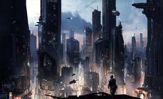 new concept art images show the gigantic futuristic metropolis of Halo 5: Guardians