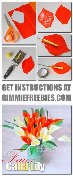 Free 17 Flower Craft Ideas: How to Make Paper Flowers, Easy Fabric Flowers & More. Make faux Calla Lilies, scrapbook embellishments & tropical bouquets!