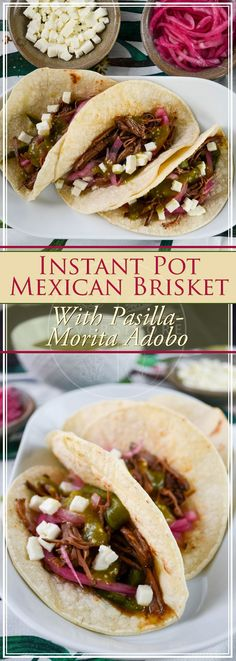Brisket with Pasilla-Morita Adobo Instant Pot Mexican Brisket with Pasilla-Morita Adobo - perfect for tacos, or anything else for that matter!Instant Pot Mexican Brisket with Pasilla-Morita Adobo - perfect for tacos, or anything else for that matter! Mexican Brisket Recipe, Mexican Food Recipes, Beef Recipes, Real Food Recipes, Dessert Recipes, Mexican Dinners, Healthy Recipes, Easy Recipes, Vegetarian Mexican