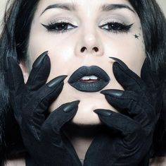 """Black vegan, cat-claw opera gloves by @majesty black make a perfect match to @thekatvond's matte noir lip: Everlasting Liquid Lipstick in #Witches.…"""