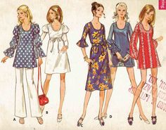 60s A-Line Dress with Tiered Puff, Bishop or Flared Sleeves in Mini, Street or Midi Lenghths Pattern. Butterick 5652 Size 14 Bust 36 in.