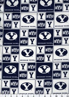 Brigham Young University NCAA  Cotton FabricBrigham Young University NCAA  Cotton Fabric,