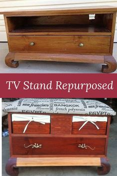 Old TV stand redpurposed in to a Bedroom stool with storage.