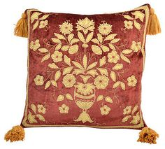 Consigned Rusty Rose Pillow w/ Floral Design - traditional - Decorative Pillows - LR Antiques