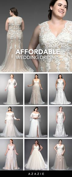 Azazie has everything a fuller-figured bride is looking for in a plus size wedding dress. Our full collection is custom fitted and available in sizes Affordable Wedding Dresses, Dream Wedding Dresses, Bridal Dresses, Wedding Gowns, Wedding Tips, Wedding Ceremony, Wedding Stuff, Homecoming Dresses Tight, Hoco Dresses