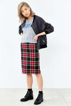 BB Dakota Lyla Plaid Pencil Skirt - Urban Outfitters