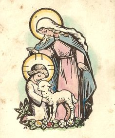 Divina PastoraA vintage holy card of Mary as the Divine Shepherdess.