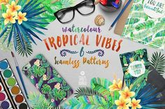 Tropical Vibes, Seamless Patterns by Stella's Graphic Supply on @creativemarket