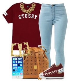 Burgundy Stussy. by livelifefreelyy on Polyvore featuring polyvore, fashion, style, Stussy, Converse, MCM and ASOS