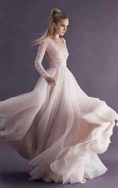 Sexy Upper See Through Deep V Neck Long A Line Evening Dresses Appliques Full Sleeve Beads Prom