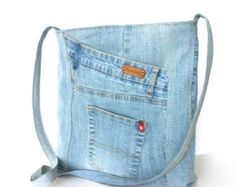 Jean cross body bag , recycled denim messenger bag ,Eco friendly travel bag , school cross over bag ,blue cross body purse