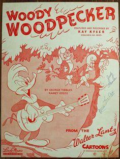 Vintage Woody Woodpecker sheet music Walter Lantz Cartoons 1947