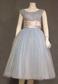 fdbb5aa841c1 Floating Pale Blue Chiffon 1950's Party Dress w/ Pleated Bust & Satin Waist