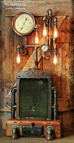 Steampunk industrial Case Radiator Floor Lamp, Steam Gauge, Barn wood, Black pipe, Farm Tractor Eidson light