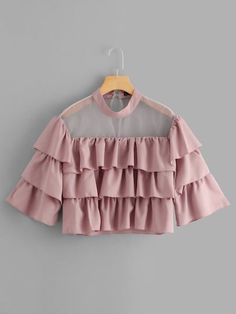 SHEIN offers Mock Neck Sheer Yoke Layered Crop Top & more to fit your fashionable needs. Indian Fashion Dresses, Girls Fashion Clothes, Teen Fashion Outfits, Fashion Hacks, Fashion Tips, Crop Top Outfits, Cute Casual Outfits, Pretty Outfits, Stylish Dresses For Girls