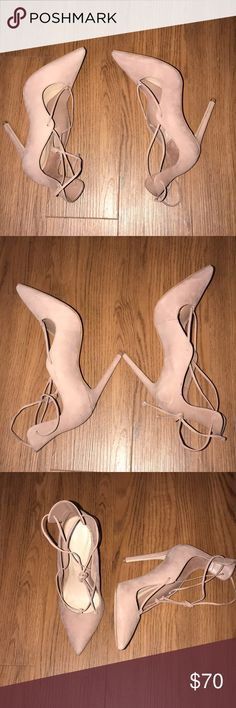 Aldo Thylia Lace up Pump sz 7 ✨ Thylia lace up pumps size 7 from Aldo's ! Is color bone ! Shoes have been worn once out for a birthday party for aprox. 9 hours super comfy! 4 1/4 inch heel pointed toe as well, suede exterior leather lining. Come without box 📦 but I will ship securely 💕 Next day ship out 💥 offers are welcome ! Aldo Shoes Heels