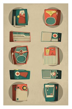 1960's Transistor Radios by Daniel Long, via Behance