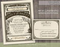 Art Deco Wedding Invitation and RSVP Card Suite - Vintage Baroque Great gatsby Style Customizable  | Digital DIY Wedding Invitations Suite