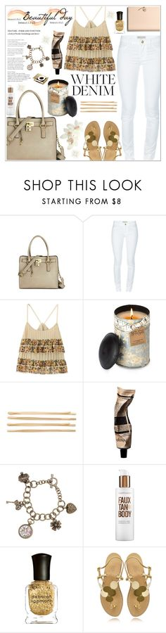 """""""White Jeans and floral top"""" by rikadigimon13 ❤ liked on Polyvore featuring Melie Bianco, Emilio Pucci, Himalayan Trading Post, Cara, Aromatique, Bare Escentuals, Deborah Lippmann, Amedeo Canfora, Coach and white"""