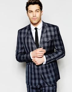 Vito Check Suit Jacket in Skinny Fi